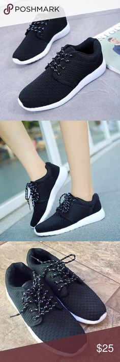 Black Lace-Up Sneakers Black colored breathable cotton upper with rubber insole, lace-up style, fit is true to size, color bled onto rubber at the very top of sneaker (very slight)  *NO OFFERS ON BUNDLES Skull & Arrow Shop Shoes Sneakers
