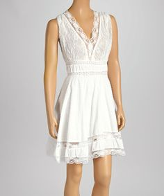 Another great find on #zulily! White Lace V-Neck A-Line Dress by Shabri Fashions #zulilyfinds