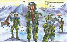 """""""Online Painting Competition, Army Day Painting by Anusmita Das, Age 12 Yrs reflects Serve with Pride. Online Painting, Painting Art, Kargil War, Drawing Competition, Army Day, Kali Goddess, Indian Art Paintings, Republic Day, Indian Army"""