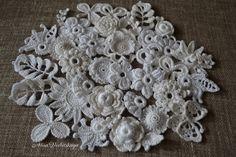 30 Crochet Flower AppliquesIrish crochet boho-Ivory by AlisaSonya