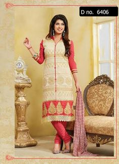 Beautifully designed cotton Straight cut Salwar Suit Cream and Pink with beautiful embroidery work done. Comes along with Matching Cotton Bottom and Chiffon Duppatta.