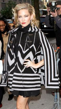 Who made Kate Hudson's black leather dress, black and white poncho, and jewelry that she wore to the Tribeca Film Festival premiere of The Killer Inside Me?