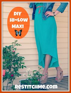 DIY Maxi Dress to High Low Dress Tutorial from Restitch Me here.Beyond easy restyle. *First seen at Flamingo Toes here.