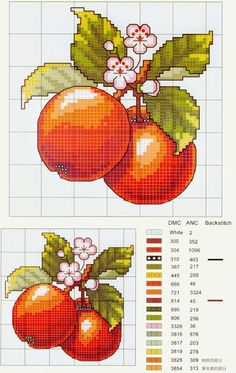Cross stitch - fruit: apples (free pattern - chart) - pears, cherries, lemons on the same page