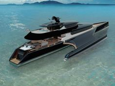 French shipyard Blue Coast Yachts recently unveiled the design of a new trimaran. Particular care has been given to the smooth design of this stately yacht. Indeed, a quick look at the render is enough to see that this new range of luxury p. Yacht Design, Boat Design, Private Yacht, Private Jet, Super Yachts, Yatch Boat, Bateau Yacht, Float Your Boat, Jet Ski