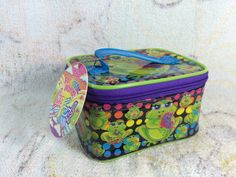 1990s Peace Frog Lisa Frank Makeup Bag Deadstock unused with Hangtag VERY HTF by TheOddOwl on Etsy https://www.etsy.com/listing/475946555/1990s-peace-frog-lisa-frank-makeup-bag