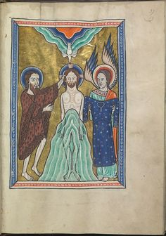 Images from the life of Christ - The baptism of Christ by St John the Baptist, an angel holds Christ's robe - Psalter of Eleanor of Aquitaine (ca. 1185) - KB 76 F 13, folium 019r.