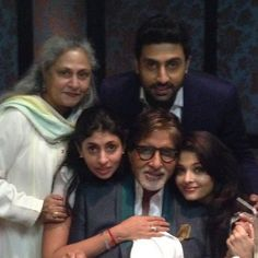 Superstar Amitabh Bachchan along with wife Jaya Bachchan, daughter Shweta Nanda and daughter-in-law Aishwarya Rai and son Abhishek Bachchan.