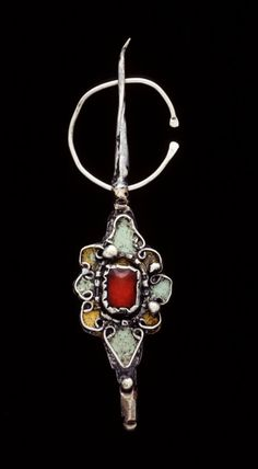 Morocco | Fibula; silver, glass, copper/brass, enamel | African Museum (Belgium) Collection; acquired 1992