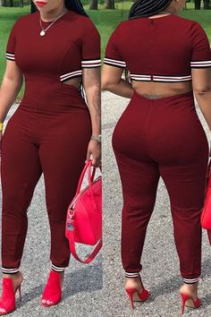 Lovely Casual Hollowed-out Wine Red Blending One-piece Jumpsuit Curvy Girl Outfits, Sexy Outfits, Chic Outfits, Fashion Outfits, Thick Girl Fashion, Curvy Women Fashion, Plus Size Fashion, Pernas Sexy, Jumpsuit With Sleeves