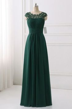 db91d7cda55 Green Sleeveless Empire Ruffles Chiffon Long Prom Dresses With Lace