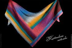 Купить Теплая вязаная цветная шаль Пэчворк - комбинированный, шаль вязаная, шаль тёплая