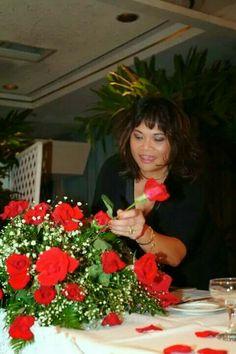 Throwback  photo,  designing floral arrangement for Amber 's wedding