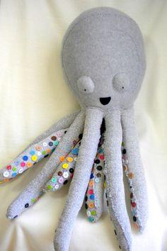 octopus button plush