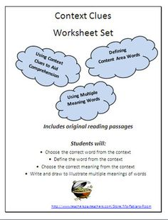 Context Clues Worksheet Set - Nine worksheets provide original passages and questions to give students lots of practice with using context clues.  Students practice using the context as an aid to comprehension, to define content area words, and to practice using multiple meaning words.  Types of questions include fill in the blanks, multiple choice, matching, and writing sentences. Passages include both short and long paragraphs. $