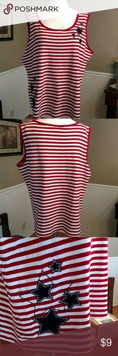 Karen Scott Tank top Great patriotic top for Memorial Day or 4th of July.109% cotton. Karen Scott Tops Tank Tops