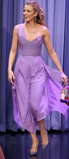 Blake Lively in a lavender Roland Mouret midi dress - click through to see more of Blake's amazing outfits