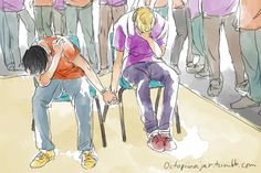 < OMG somebody drew it like percy and jason holding hands while camp halfblood and camp jupiter are on the side of them watching!!