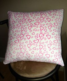 pink heart print on a soft fabric throw pillow case for insert Throw Pillow Cases, Heart Print, Soft Fabrics, Doll Clothes, Bed Pillows, Dolls, Cover, Pink, Pillows