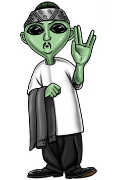 Alien Ese showed up one day on the run. He popped in on the Homies talking about how the men in black were chasing him down. He had been hiding out in Roswell New Mexico . He hid out working as a chilero in chimayo. Someone finally ratted him out, so he headed to East L.A. Since by now he spoke fluent Spanish, he figured he could blend right in. The Homies felt sorry for him as a lot of their own parents were immigrants in this country also, so they taught him how to blend in.