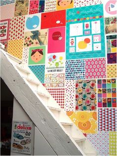 Patchwork behang voor de kinderkamer.