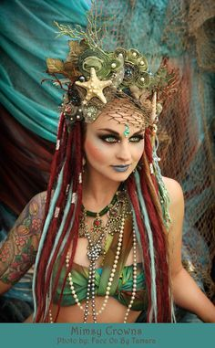 SOLD On Lay-A-Way Magical Whimsycal Fantasy Fairy Mermaid Queen Princess Sea Nymph headdress headpiece crown costume tiara amazing hippy pagan tribal huntress princess look for circus performance or theatre fancy dress Halloween Fairy, Halloween Costumes, Fairy Costumes, Water Fairy Costume, Fairy Costume Makeup, Goddess Halloween Costume, Halloween Mermaid, Mermaid Costumes, Headpieces