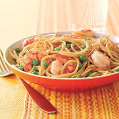 Learn how to make Stir-Fried Noodles with Shrimp and Peas. MyRecipes has tested recipes and videos to help you be a better cook. Pea Recipes, Noodle Recipes, Shrimp Recipes, Fish Recipes, Asian Recipes, Dinner Recipes, Healthy Recipes, Recipies, Seafood Dishes