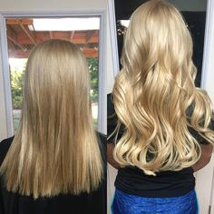 Before & After Bombshell tape-ins color 24 & 16/22 #bombshellextensions #hairextensions #tapeins #hairtransformation #longhair #blondehair