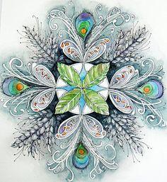 Zentangle Painting - Peacock Mandala by Andrea Thompson Mandala Art, Mandala Canvas, Mandalas Drawing, Mandala Painting, Mandala Throw, Doodles Zentangles, Zentangle Patterns, Zen Doodle, Doodle Art