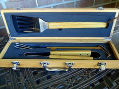 This personalized Bamboo BBQ Tool Set is sure to cook up some flavor! This set makes a great addition to any grill masters set up. This makes a perfect gift for the BBQ Grill Master in your life and also is great for Birthdays, Holidays, Anniversaries, Father's Day, etc.   -3 Piece Bamboo BBQ Tool Set comes with tongs, 3 prong fork, and spatula (all tools are stainless steel and have bamboo handles)-all kept safe in a solid and genuine Bamboo Case.