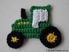 Patroon John Deere tractor sleutelhanger Benodigheden: Phildar Coton 3 groen 44 Phildar Coton 3 geel  45 Phildar Coton 3 w...