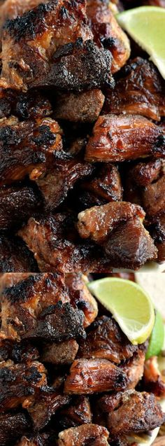 Carnitas - Bite-sized pieces of pork cooked low & slow in the oven until super tender, then perfectly caramelized! Mexican Dinner Party, Mexican Dinner Recipes, Fall Dessert Recipes, Mexican Dishes, Pork Recipes, Cooking Recipes, Carnitas Recipe, Dinner Entrees, Fabulous Foods
