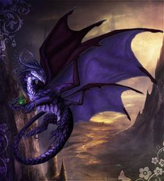 Night by on deviantART ~ Purple Dragon Fantasy Dragon, Dragon Art, Fantasy Art, Blue Dragon, Magical Creatures, Fantasy Creatures, Dragon Oriental, Types Of Dragons, Dragons Den