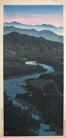 Kawase Hasui (1883-1957): Lordani Pass, Etchu, woodblock print, 1923. SOLD.