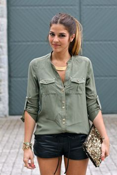 military green shirt with Leather Shorts and Sequin / Sparkle Clutch Bag - Night Out Outfit