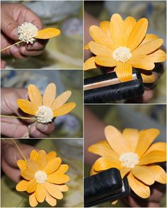 : DIY: How To Make a Daisy Flower Using Dried Cornhusk Nylon Flowers, Felt Flowers, Diy Flowers, Paper Flowers, Sola Wood Flowers, Wooden Flowers, Corn Husk Wreath, Corn Husk Crafts, Reduce Reuse