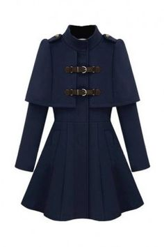 Caped Navy Blue Coat – Romwe