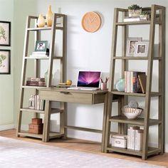 Perspectives Wall Desk and Bookcase Piers I Riverside Furniture Bookshelf Desk, Wall Desk, Ladder Bookcase, Ladder Desk, Leaning Ladder, Leaning Desk, Home Office Desks, Office Decor, Home Furniture