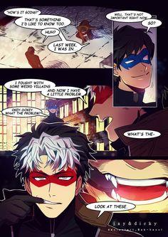 Fan comic - Jay and Dicky 2 (update) by BAK-Hanul on deviantART Jason Todd gets turned into a Vampire! Nightwing, Batgirl, Tim Drake, Batman Y Superman, Batman Robin, Batman Arkham, Batman Art, Red Robin, Nananana Batman