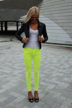 neon skinnies, black blazer, white tee, & wedgies