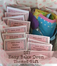 DIY Easy Bake Oven Themed Gift! FREE printables included!  Hill House Homestead: DIY Easy Bake Oven Themed Gift