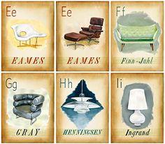E-I Mid Century Design Icons Painted by Jen Renninger