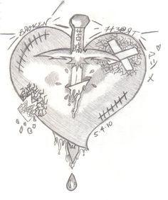 Invited by Broken Heart - Weg hier - Broken Sad Drawings, Dark Art Drawings, Pencil Art Drawings, Art Drawings Sketches, Broken Heart Drawings, Broken Heart Art, Broken Heart Tattoo, Shattered Heart, Sketches