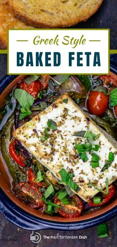 Warm, creamy, and luscious baked feta recipe with bell peppers, tomatoes, herbs, and a good drizzle of extra virgin olive oil. One of the simplest and most satisfying mezze you'll make! All you need is some crusty bread or homemade pita chips to serve. Low Carb Side Dishes, Best Side Dishes, Side Dish Recipes, Easy Recipes, Easy Meals, Amazing Recipes, Mediterranean Appetizers, Mediterranean Fish Recipe, Mediterranean Dishes