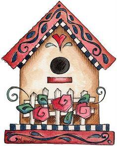 Riscos Para Pinturas e Decoupage: Casa de passarinho