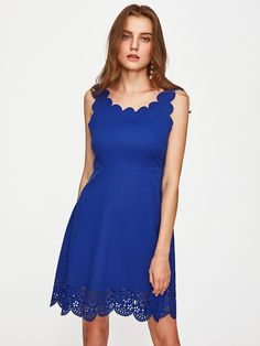 Shop Scallop Edge Laser Cut Fit & Flare Dress online. SheIn offers Scallop Edge Laser Cut Fit & Flare Dress & more to fit your fashionable needs.