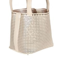 Azzedine Alaïa Sand-Tone Petite Fleur Cut-Out Leather Tote (6.450 RON) ❤ liked on Polyvore featuring bags, handbags, tote bags, leather zip pouch, leather zip tote, leather handbags, zipper pouch and leather tote handbags