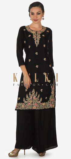 Black straight palazzo suit features in cotton silk. Its embellished in thread and zardosi embroidery in floral motif. Matched with black palazzo pant Black Palazzo Pants, Palazzo Suit, Zardosi Embroidery, Neck Designs For Suits, Cotton Silk, Indian Dresses, Indian Fashion, Party Wear, Designer Dresses