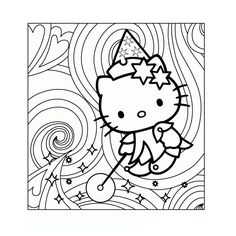 """Coloring Hello Kitty Magic- Tons of coloring pages,nice quality-is in french but """"Say-La-Vee!"""""""