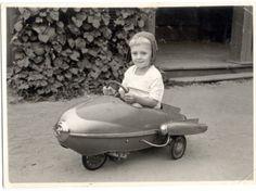 Vintage Photo, Little Boy in Rocket Car 1950's